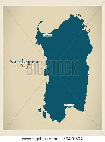 Modern Map - Sardegna IT Italy illustration