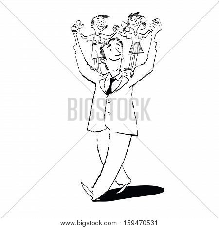 Happy father with children on their shoulders, hand drawn vector illustration. A boy and a girl, a daughter and a son. Black and white illustration