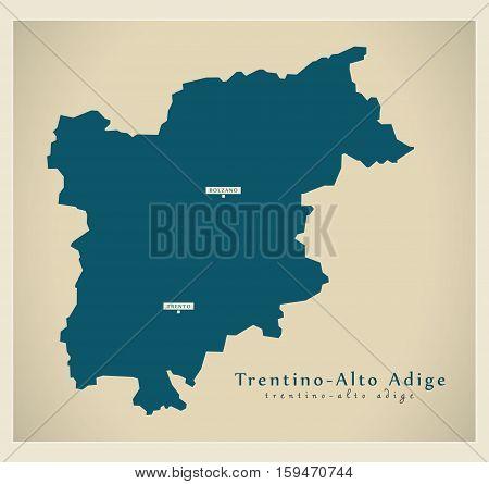Modern Map - Trentino - Alto Adige IT Italy illustration