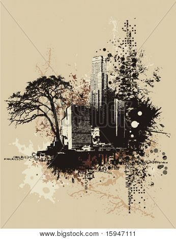 Cityscape background with grunge elements, vector illustration.