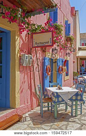 a typical greek tavern in Fiskardo, Cephalonia