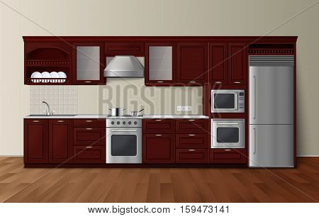 Modern luxury kitchen dark brown cabinets with built-in microwave oven realistic side view image vector illustration
