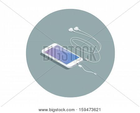 Vector isometric white smartphone with headphone adapter, 3d flat design phone, electronic devises icon.