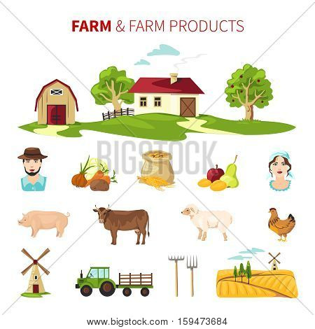 Flat farming set with farm products farmhouse farmers and equipment isolated on white background vector illustration