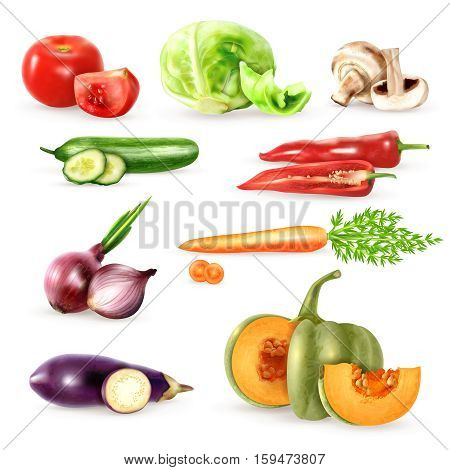 Vegetables decorative icons collection with cucumbers eggplant onions mushrooms carrot cabbage tomato images in realistic style isolated vector illustration