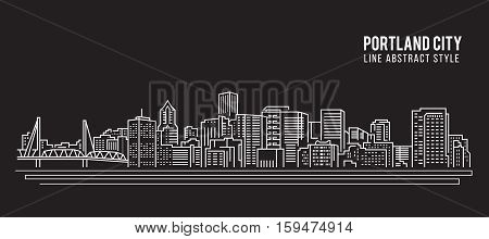 Cityscape Building Line art Vector Illustration design - Portland city