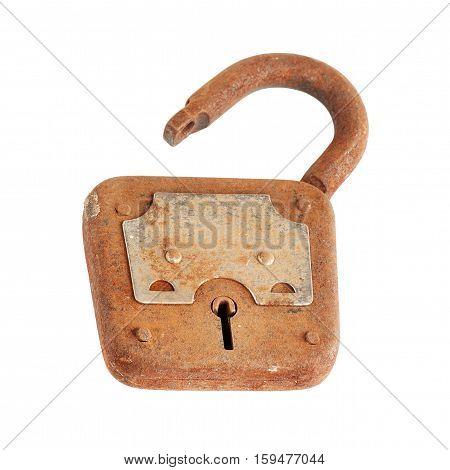 Old rusty padlock isolated on white background