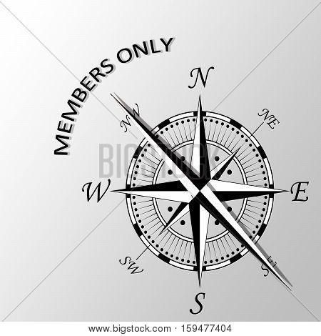Illustration of Members only written aside compass