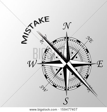 Illustration of mistake word written aside compass