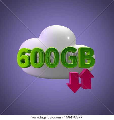 3D Rendering Cloud Data Upload Download illustration 600 GB Capacity