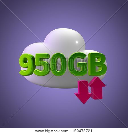 3D Rendering Cloud Data Upload Download illustration 950 GB Capacity
