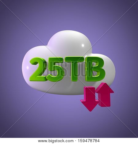3D Rendering Cloud Data Upload Download illustration 25 TB Capacity
