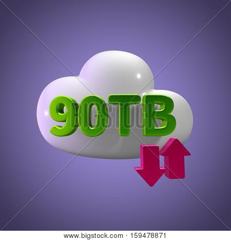 3D Rendering Cloud Data Upload Download illustration 90 TB Capacity