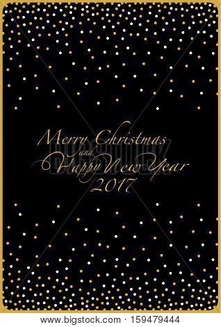 The cover design. Depicts white and gold point on the black background. The phrase merry christmas and happy new year and numbers: two, zero, one ,seven on a black background