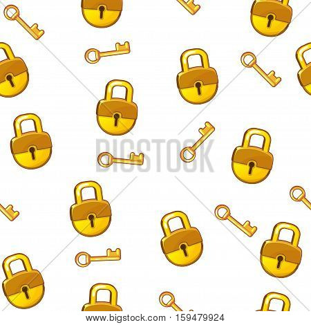 Cartoon gold Lock padlock and key on white background seamless pattern