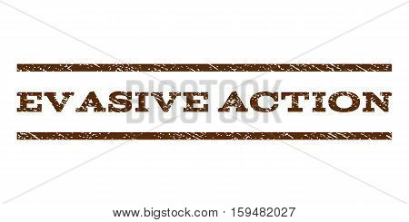 Evasive Action watermark stamp. Text tag between horizontal parallel lines with grunge design style. Rubber seal brown stamp with dirty texture. Vector ink imprint on a white background.