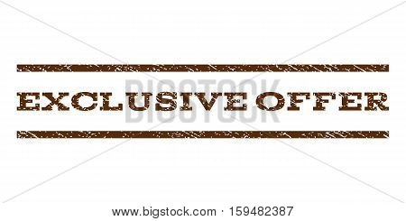 Exclusive Offer watermark stamp. Text tag between horizontal parallel lines with grunge design style. Rubber seal brown stamp with unclean texture. Vector ink imprint on a white background.