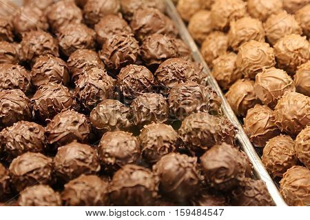 Delicious chocolate candy close up food background