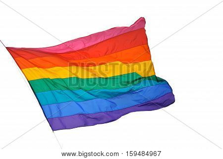 Rainbow flag on white background symbol of tolerance and acceptance