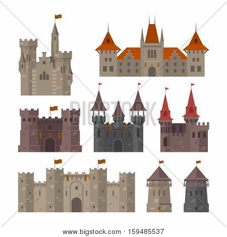 Medieval castles fortresses and strongholds with fortified wall and towers