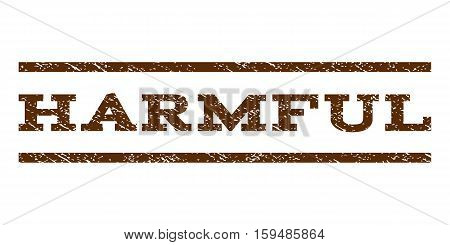 Harmful watermark stamp. Text tag between horizontal parallel lines with grunge design style. Rubber seal brown stamp with unclean texture. Vector ink imprint on a white background.