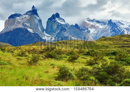 Scenic View Of Cuernos Del Paine Mountains