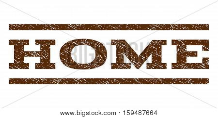 Home watermark stamp. Text tag between horizontal parallel lines with grunge design style. Rubber seal brown stamp with scratched texture. Vector ink imprint on a white background.