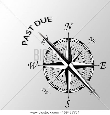 Illustration of past due written aside compass