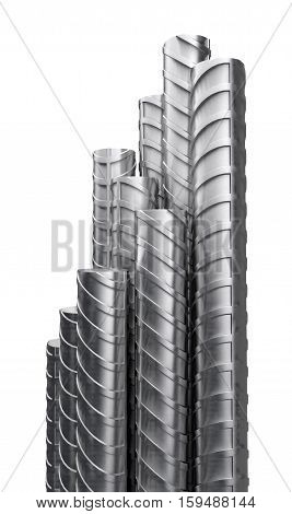 Metal reinforcements, close up, isolated on white. 3D rendering