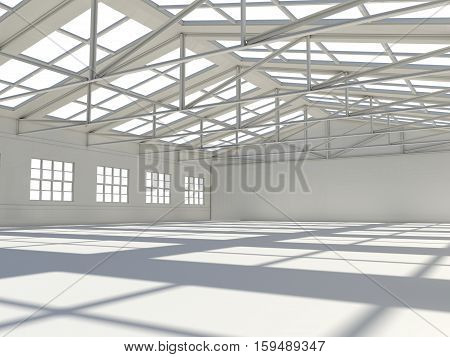 Large modern storehouse with windows. 3D illustration