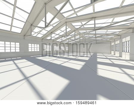 Large modern empty storehouse. 3D illustration. Business concept