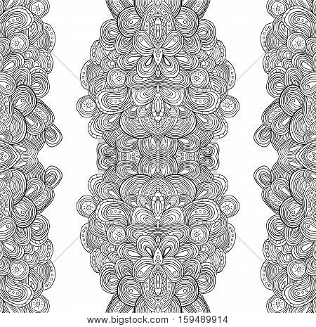 Seamless doodle uncolored black and white pattern, raster illustration.