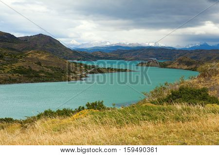 Scenic View Of Pehoe Lake In Torres Del Paine National Park, Chile