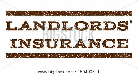 Landlords' Insurance watermark stamp. Text tag between horizontal parallel lines with grunge design style. Rubber seal brown stamp with unclean texture. Vector ink imprint on a white background.