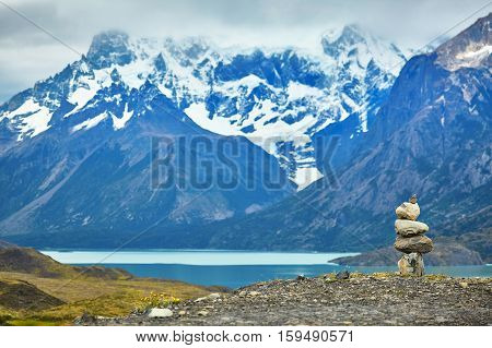 Stacked Stones In Torres Del Paine National Park