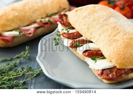 Assorted Sandwiches. Sandwich Caprese With Mozzarella And Sun-dried Tomatoes And Ciabatta With Ham