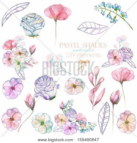 Set with isolated watercolor floral bouquets and elements: tender flowers and leaves in pastel shades, hand drawn on a white background, for self-compilation of the bouquets and ornaments