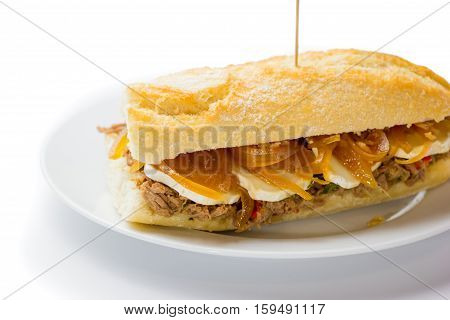 Meat Sandwich With Sweet Onion And Goat Cheese. Venezuelan Food