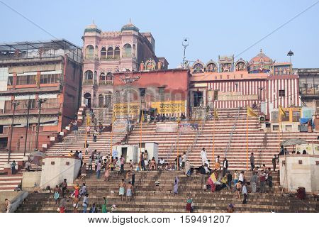 VARANASI, UTTAR PRADESH, INDIA - FEBRUARY 17, 2016 - View of the ghats from river Ganga