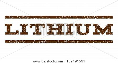 Lithium watermark stamp. Text tag between horizontal parallel lines with grunge design style. Rubber seal brown stamp with dust texture. Vector ink imprint on a white background.