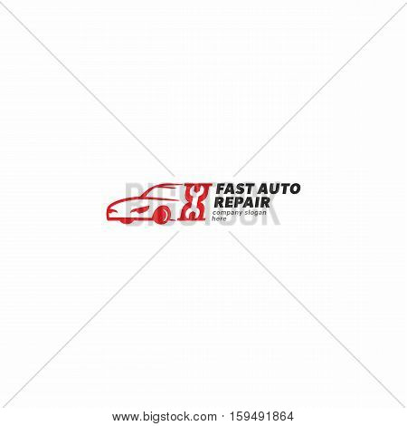 Fast car service abstract design concept. Auto repair vector logo.