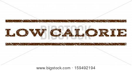 Low Calorie watermark stamp. Text caption between horizontal parallel lines with grunge design style. Rubber seal brown stamp with dust texture. Vector ink imprint on a white background.