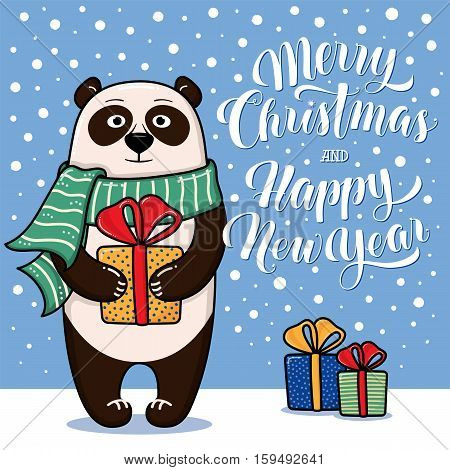 Merry Christmas and Happy New Year greeting card with panda, gifts, snow and lettering, cartoon vector illustration. Christmas and New Year card, invitation, poster, banner design with a panda