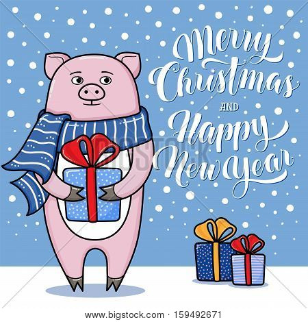 Merry Christmas and Happy New Year greeting card with pig, gifts, snow and lettering, cartoon vector illustration. Christmas and New Year card, invitation, poster, banner design with a pig