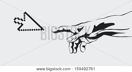 vector concept of the creation of the Internet, communication, creation of virtual reality, human hand, hand, interpretation, creation of a new world, artificial intelligence, computer arrow.