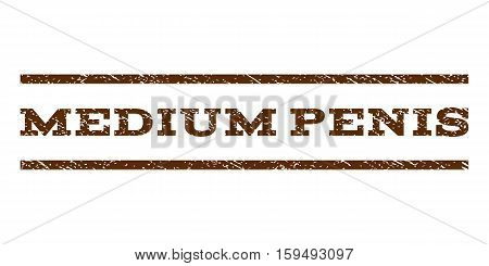 Medium Penis watermark stamp. Text tag between horizontal parallel lines with grunge design style. Rubber seal brown stamp with dust texture. Vector ink imprint on a white background.