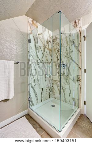 Photo Of Attic Bathroom With An Alcove Shower