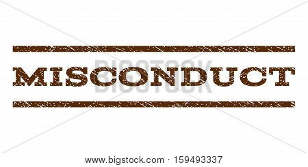 Misconduct watermark stamp. Text caption between horizontal parallel lines with grunge design style. Rubber seal brown stamp with scratched texture. Vector ink imprint on a white background.