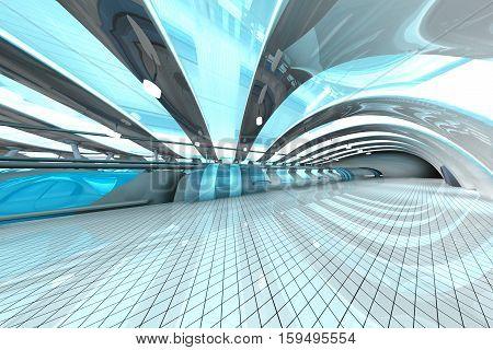 A futuristic subway or train station. 3D architecture visualization.
