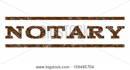 Notary watermark stamp. Text caption between horizontal parallel lines with grunge design style. Rubber seal brown stamp with unclean texture. Vector ink imprint on a white background.